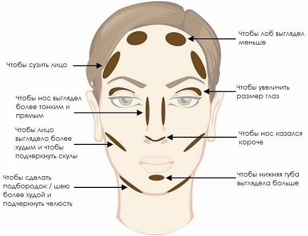 Схема нанесения на лицо