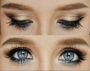 Макияж тенями голубых для глаз